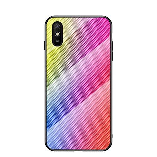 BaiFu Funda para Xiaomi Redmi 9A Cubierta Carbon Fiber Glass Phone Case Caja de Vidrio Templado Case Cover para Xiaomi Redmi 9A (Vistoso)