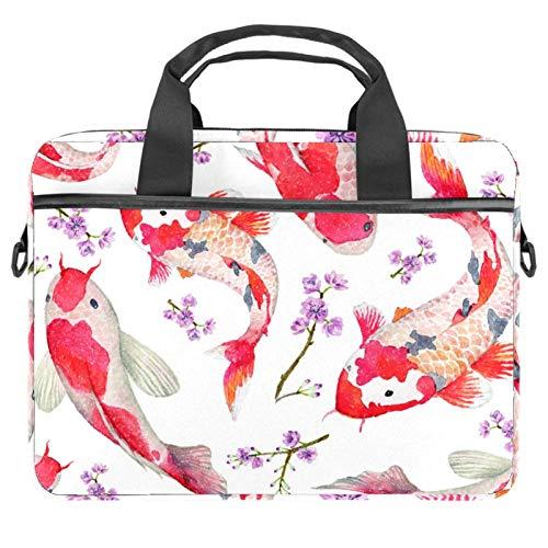 Bolso bandolera para ordenador portátil de 14,5 pulgadas, carpa roja con flores, bolso de hombro para tableta de negocios para mujeres y hombres