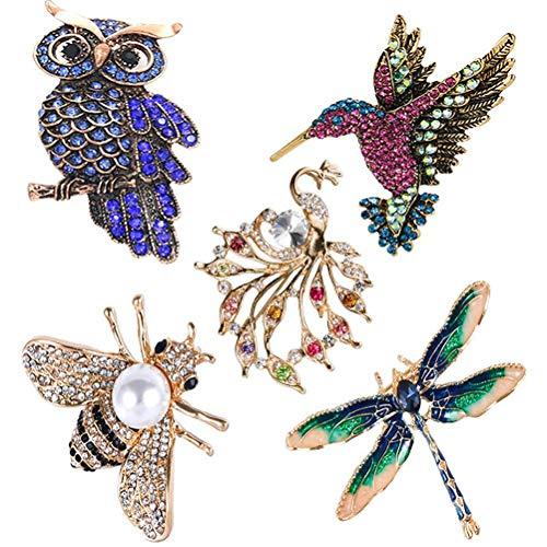 FuYouTa Juego de 5 broches para mujer con diseño de búho vintage y abejas, diseño de colibrí de pavo real y colibrí de cristal, para decoración de ropa