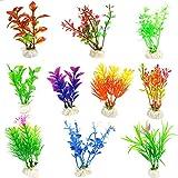 Annfly flores de plástico, tanque de peces simulación de plantas acuáticas, tanque de peces paisajismo decoración flores artificiales 10 estilos al azar