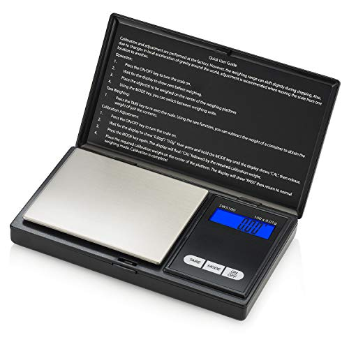 Smart Weigh SWS100 Elite Series Digital Pocket Scale, Digital Gram and Ounce Scale, Food Scale, Jewelry/Medicine Scale, Kitchen Scale 100 grams by 0.01 grams, Black