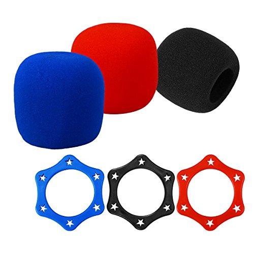 Artibetter 3 Sets Foam Mic Cover Anti Slip Zeshoek Vorm Roller Ring Bescherming voor Handheld Microfoon Voorruit