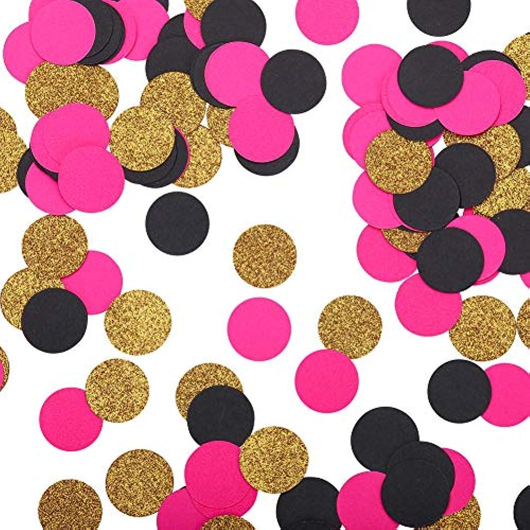 Fonder Mols Balck Hot Pink Gold Confettis Circles for Bridal Shower, Wedding Table Decor, Baby Shower Table Decorations 200pcs per Bag