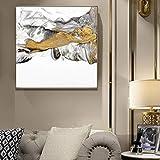 ganlanshu Decoración del Dormitorio del Cartel de la Pintura al óleo de la montaña de Oro del Arte Abstracto Moderno sobre Lienzo,Pintura sin Marco,60X90cm