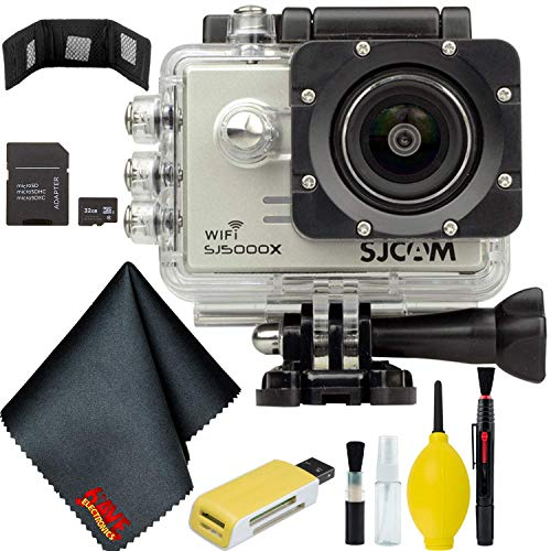 SJCAM SJ5000X Elite 4K Action Camera (Silver) Bundle with 32GB Memory Card + Accessories