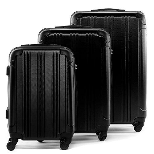 FERGÉ Kofferset Hartschale 3-teilig QUÉBEC Trolley-Set mit Handgepäck 55 cm 3er Set Hartschalenkoffer Roll-Koffer 4 Rollen schwarz