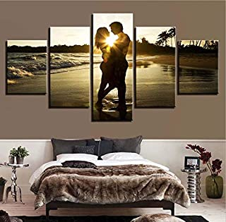 Printed Picture Wall Art Posters Home Decor Modular 5 Pieces Lover Beach Seaside Living Room HD Modern Painting Canvas Fra...