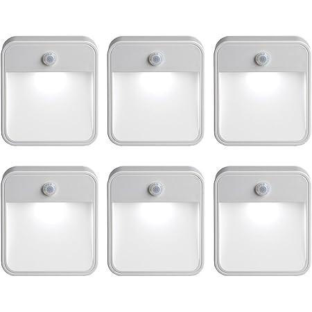 Mr. Beams MB726 Paquete de 6 Luces LED Nocturnas con Sensor de Movimiento, Blanco