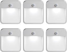 Mr Beams MB726 Stick Anywhere Battery-Powered Wireless Motion Sensor LED Night Light, White, Set of 6