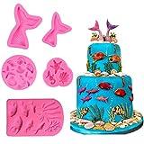 NANAN 5 Piezas de moldes de Fondant de Silicona con Tema de Sirena para Decoraciones de Cupcakes para Fiesta temática de Sirena