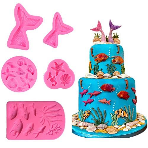 5 Stücke Meerjungfrau Themen Silikon Fondant Formen für Kuchen Cupcake Dekorationen, Meerjungfrau Schwanz, Muschel, Seepferdchen, Algen Süßigkeiten Schokolade Backformen