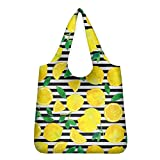 FOR U DESIGNS(JP)エコバッグ すっぱいレモンの柄 女性 メンズ 大容量 折りたたみバッグ