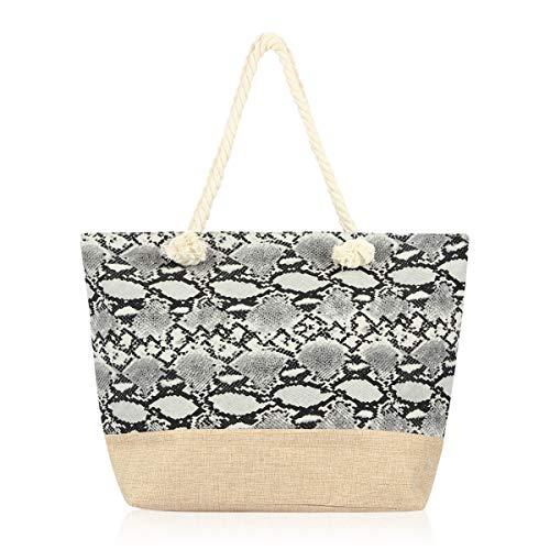 Large Reusable Eco Shopper Beach Tote - Travel Shoulder Bag Pineapple, Flower, Skull, Leaf Straw, Leopard Canvas Fabric (Animal Print - Snake White)