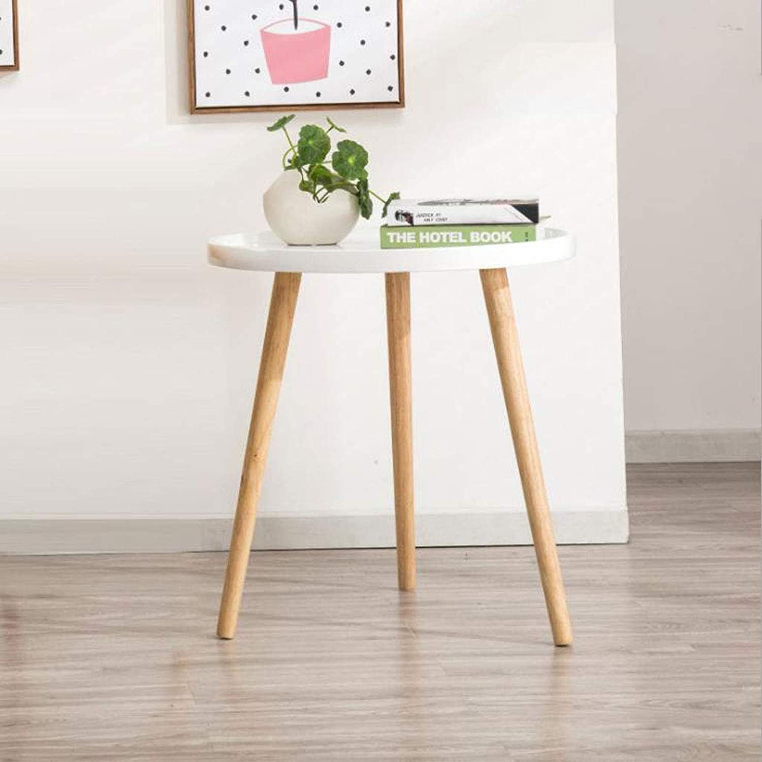 L-Life End Tables Side Table European Casual Coffee Table Living Room Balcony Bedroom Restaurant Cafe Cake Room Solid Wood Modern Coffee Table (Size   F)