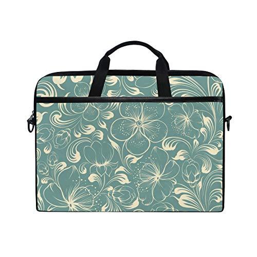 EZIOLY Retro Teal Floral Laptop Shoulder Messenger Bag Case Sleeve for 13 Inch to 14 inch Laptop