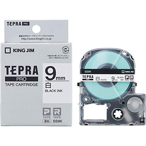キングジム テープカートリッジ テプラPRO 9mm SS9K 黒文字