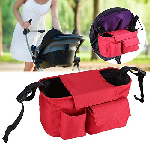 Hyde Borsa per passeggino con tasca e cerniera, borsa portaoggetti per passeggino, Grande spazio Borsa passeggino per passeggino con tracolla (Rosso)