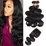 Simei Brazilian Virgin Hair Body Wave 3 Bundles with Closure 8A 100% Unprocessed Brazilian Body Wave Human Hair Weft With Lace Closure Free Part Natural Black(20 22 24+18 Free Part Closure)