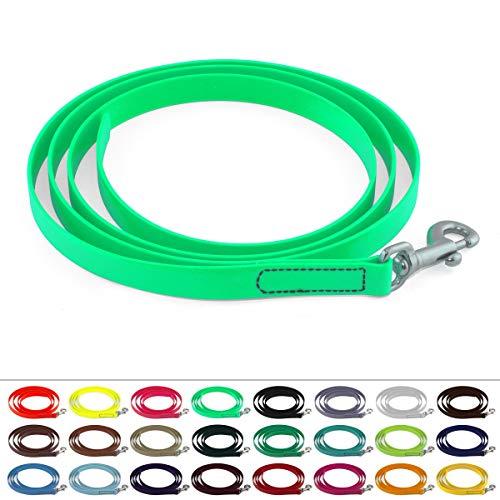 LENNIE BioThane Führstrick, 16mm breit, 2m lang, Karabinerhaken, genäht, Neon-Grün