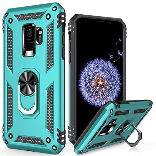 LUMARKE Galaxy S9 Case,Pass 16ft Drop Test Military Grade Heavy Duty Cover with Magnetic Kickstand Compatible with Car Mount Holder,Protective Phone Case for Samsung Galaxy S9 Turquoise