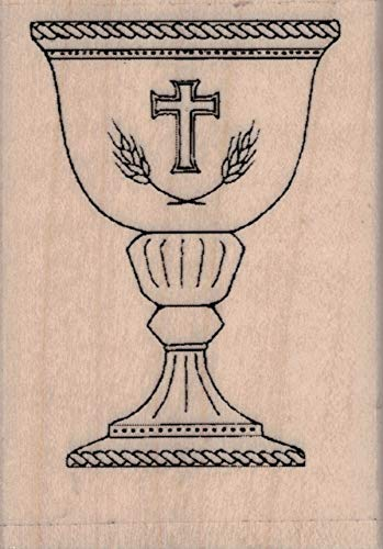 Serendipity SS764D Communion Chalice Small Wood Mounted Rubber Stamp