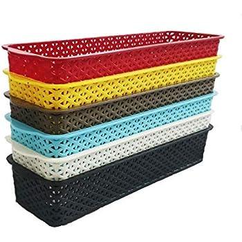 CSM Baskets Multipurpose Storage Basket Combo of 6 Small Size (Dimensions = 25 cm x 8 cm x 5 cm)