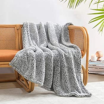 """Ultra Soft Cozy Sherpa Throw Blanket 2 Tones Ombre Black Pattern Reversible Light Weight Warm Decorative Boho Style Throw Blanket Cover for Sofa Couch Bedroom,Travel 50""""x60"""""""