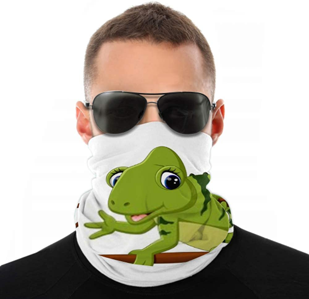 Headbands For Men Women Neck Gaiter, Face Mask, Headband, Scarf Cartoon Cute Chameleon Turban Multi Scarf Double Sided Print Face Mask For Sport Outdoor