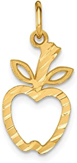 14k Yellow Gold Apple Pendant Charm Necklace Career Professional Teacher Fine Jewelry Gifts For Women For Her