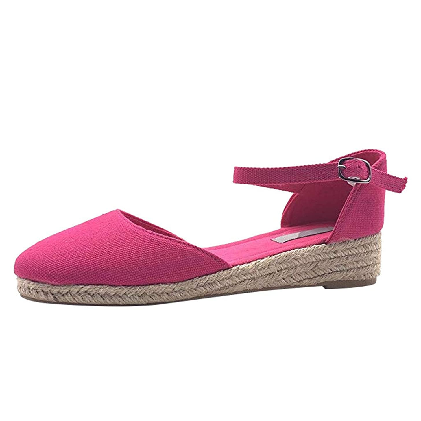 Fheaven Womens Casual Cut Out Espadrilles Trim Flats Shoes Wedge Sandal Adjustable Ankle Straps Loafers