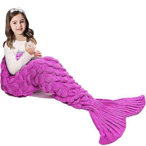 APOGO Mermaid Tail Blanket para niñas, Saco de Dormir de Sirena para niños, Manta de Cola de Sirena Hecha a Mano, Regalo de cumpleaños para niñas de 3-8 años (Escala Rosa)