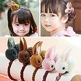 Aysekone 5 Pack Cute Stuffed Rabbit Style Hair Bands Hair Scrunchies Hair Elastics Ties Ropes Felt Plush Bunny Ponytail Holders for Children Girls