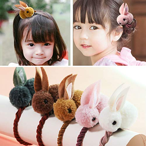 Aysekone 5 Pack Cute Stuffed Rabbit Style Hair Bands Hair Scrunchies Hair Elastics Ties Ropes Felt Plush Bunny Ponytail Holders for Children Girls