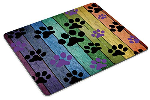 Smooffly Mousepad Rustic Rainbow Woodgrain Black and Purple Dog Paw Personality Desings Gaming Mouse Pad 9.5 X 7.9 Inch (240mmX200mmX3mm) Photo #5
