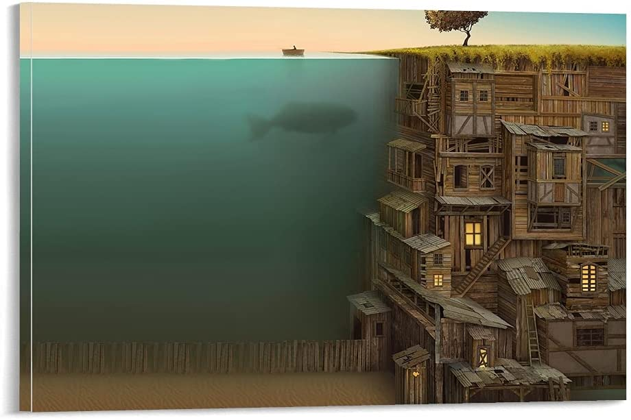 Online limited product Hitecera Undersea City 1 year warranty Canvas Art Picture Poster Pr Wall and