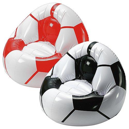 elasto form Aufblasbarer Sessel Fußball Coach mit Getränkehalterung für 2 Getränke | Luftsessel für Kinder max. 35 kg Ideales Fußball-Geschenk für Kinder (schwarz/Weiss)