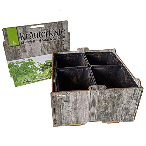 Set di sementi per erbe aromatiche, 20 x 20 x 11 cm, 4 sementi (basilico, menta, pertersilia e melisse), 4 substrattabs, 4 vasi da coltivazione con sottovaso