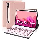 """Funda con Teclado Retroiluminado para Samsung Galaxy Tab S7 11""""2020(SM-T870/T875/T878), FOGARI Funda Protectora con Teclado Desmontable con Retroiluminación de 7 Colores para Galaxy Tab S7,Oro Rosa"""