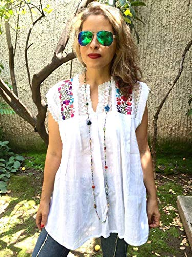 Women's Mexican Embroidered White Tunic Blouse Cover Up Plus Size