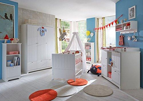 Babyzimmer, Kinderzimmer, Komplett-Set, Babymöbel, Einrichtung, Junge, Mädchen, Wickelkommode, Kleiderschrank, Babybett, weiß, Soft Close, Landhaus