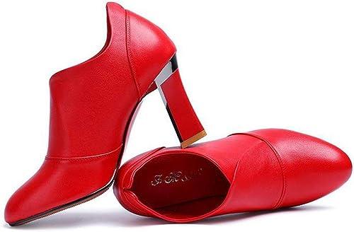 Hhor Chaussures avec des Chaussures à Talons Hauts dans Le Style Occidental de Petite tête Autour Unique (Couleuré   Rouge, Taille   35)