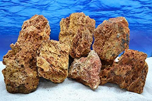 Pro Stein Aquarium Deko Versteinertes Laub rot braun Natursteine 2-3 Kg Felsen Nr.58 Pagode Dekoration Aquascaping
