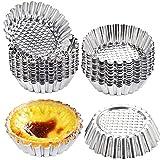 Dicunoy 30 PCS Egg Tart Mold, 3.8 Inch Stainless Steel Tart Pans, Mini Pie Tartlet Cupcake Cake Muffin Mold for Baking