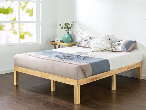Zinus Moiz 35.5 cm Wood Platform Bed / No Box Spring Needed / Wood Slat Support / Natural Finish, Double