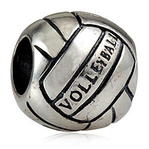 925 Sterlingssilber-Sport-Charm-Perlen für europäische Charm-Armbänder Volleyball
