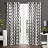 Exclusive Home Curtains Modo Metallic Geometric Window Curtain Panel Pair with...