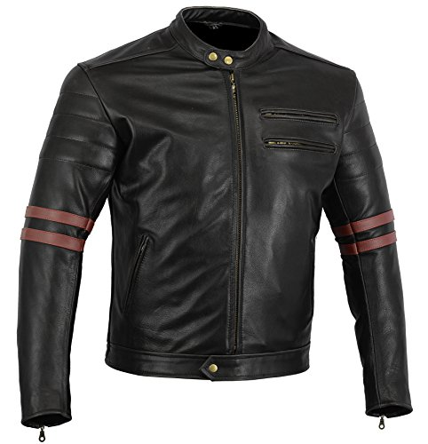 Bikers Gear UK GIACCA in PELLE da MOTO VINTAGE CUSTOM CAFE RACER TAGLIA M