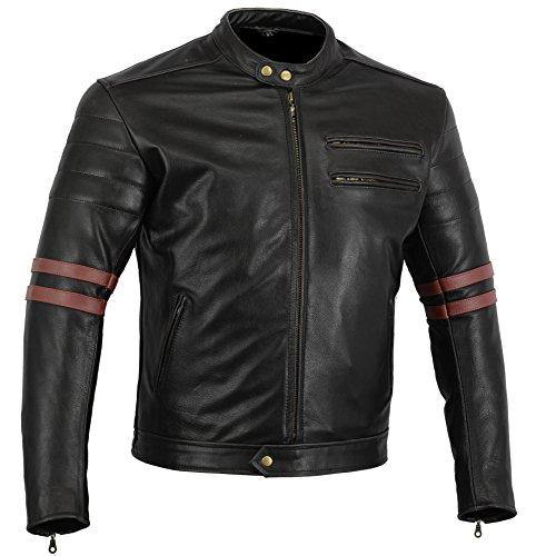 "Bikers Gear, Motorrad-Lederjacke ""The Rocker"", Schwarz, Café-Racer-Jacke, CE-Vestärkung, PU-verstärkt, Größe: M, CE1621–1"