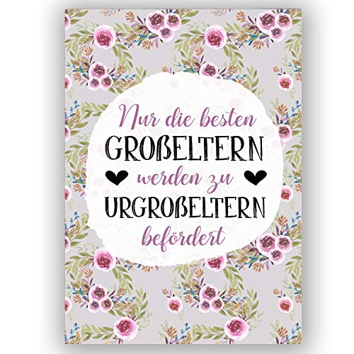 """A6 Postkarte""""Nur die besten Großeltern werden zu Urgroßeltern befördert."""" in grau/lila Glanzoptik Papierstärke 235g/m2 Geschenk Großeltern"""
