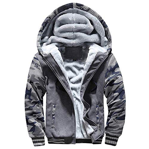 VSUSN Herren Kapuzenpullover mit Reißverschluss Langarm Kapuzenjacke Winter Warm Fleece-Innenseite Sweatshirt Plus Dicke Fleecejacke Sweatjacke Mit Kapuze(Camouflage&Grau, 2XL)